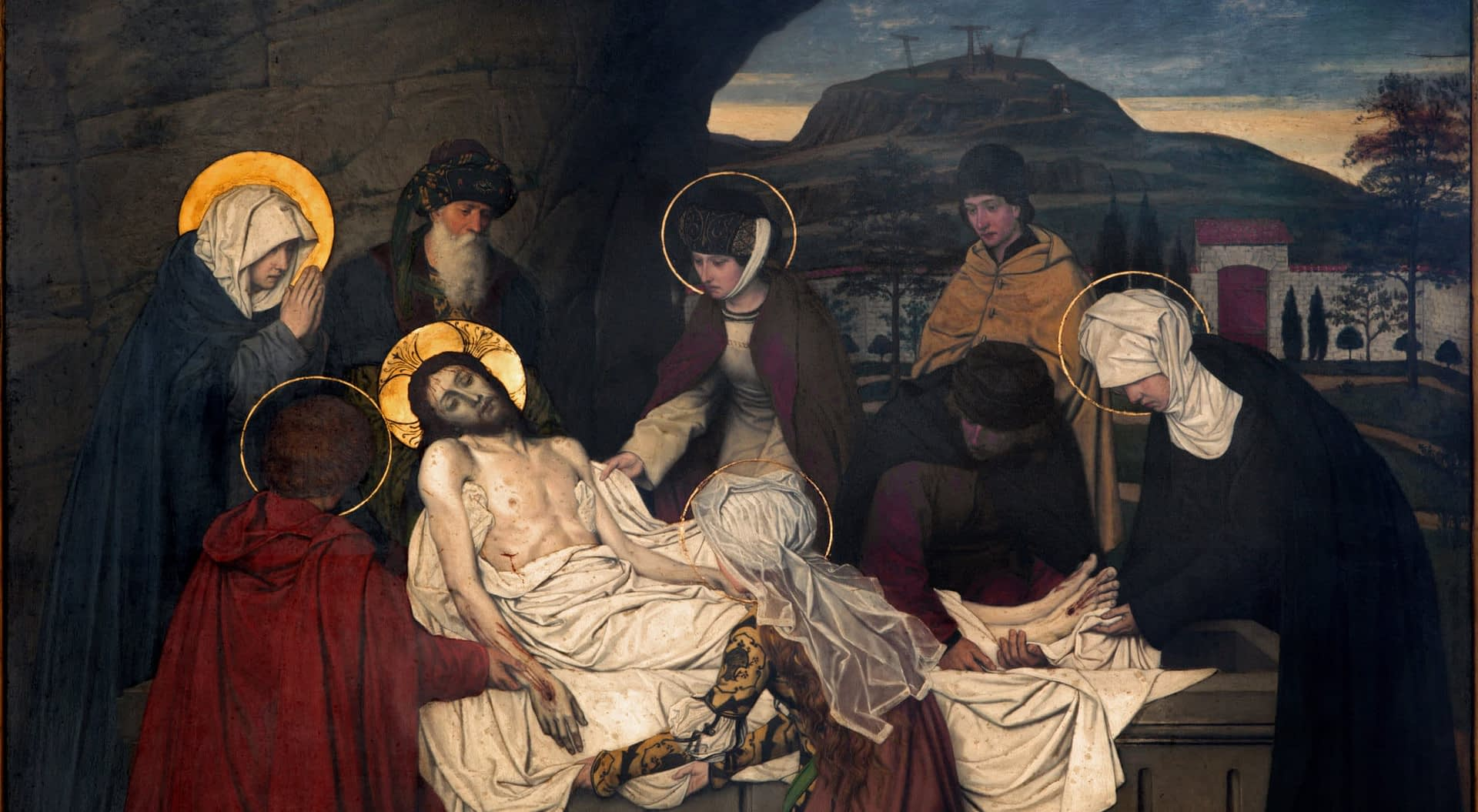 ANTWERP, BELGIUM Fresco - Burial of Jesus by Josef Janssens from years 1903 - 1910 in the cathedral of Our Lady