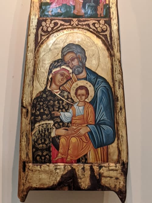 Icon painted on wood of the Holy Family of Jesus, Mary, Joseph