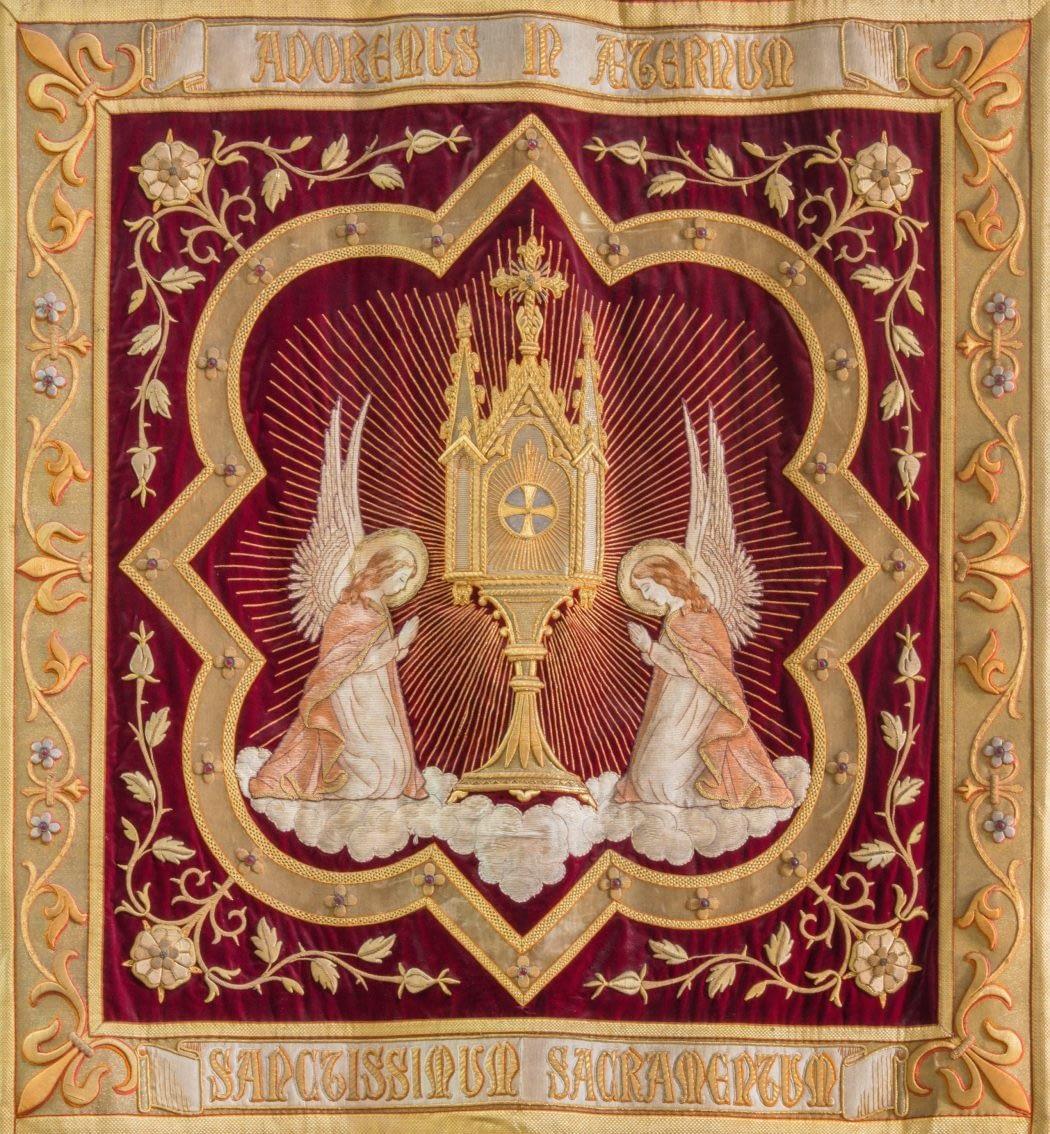 MECHELEN, BELGIUM - SEPTEMBER 4,2013 : Needlework of the Eucharist adoration of angels from Onze-Lieve-Vrouw-va n-Hanswijkbasiliek church.