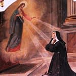 Jesus appears to Mary Alacoque as the Sacred Heart