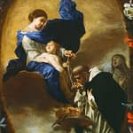 Vision of St Dominic, Mary with rosary
