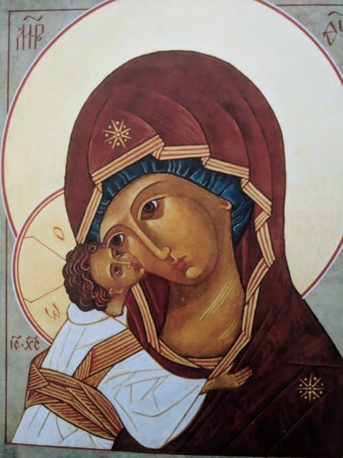 Our Lady of Tenderness Icon painted by Jude Fischer of Madonna House Apostolate