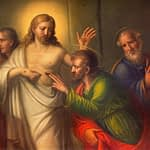 Thomas astounded by Christ's wounds