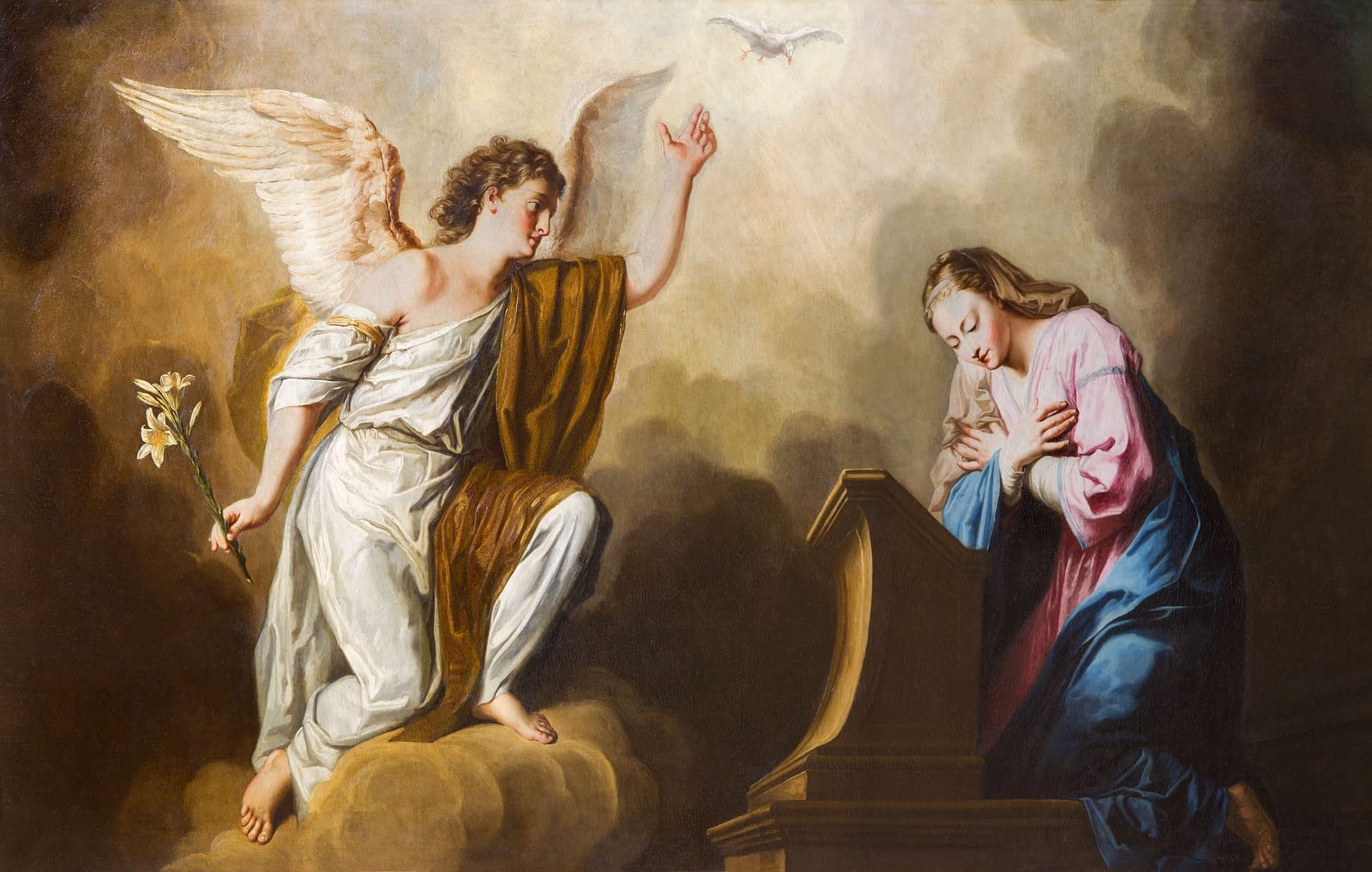 Vienna - Annunciation paint in presbytery of Salesianerkirche By Renáta Sedmáková