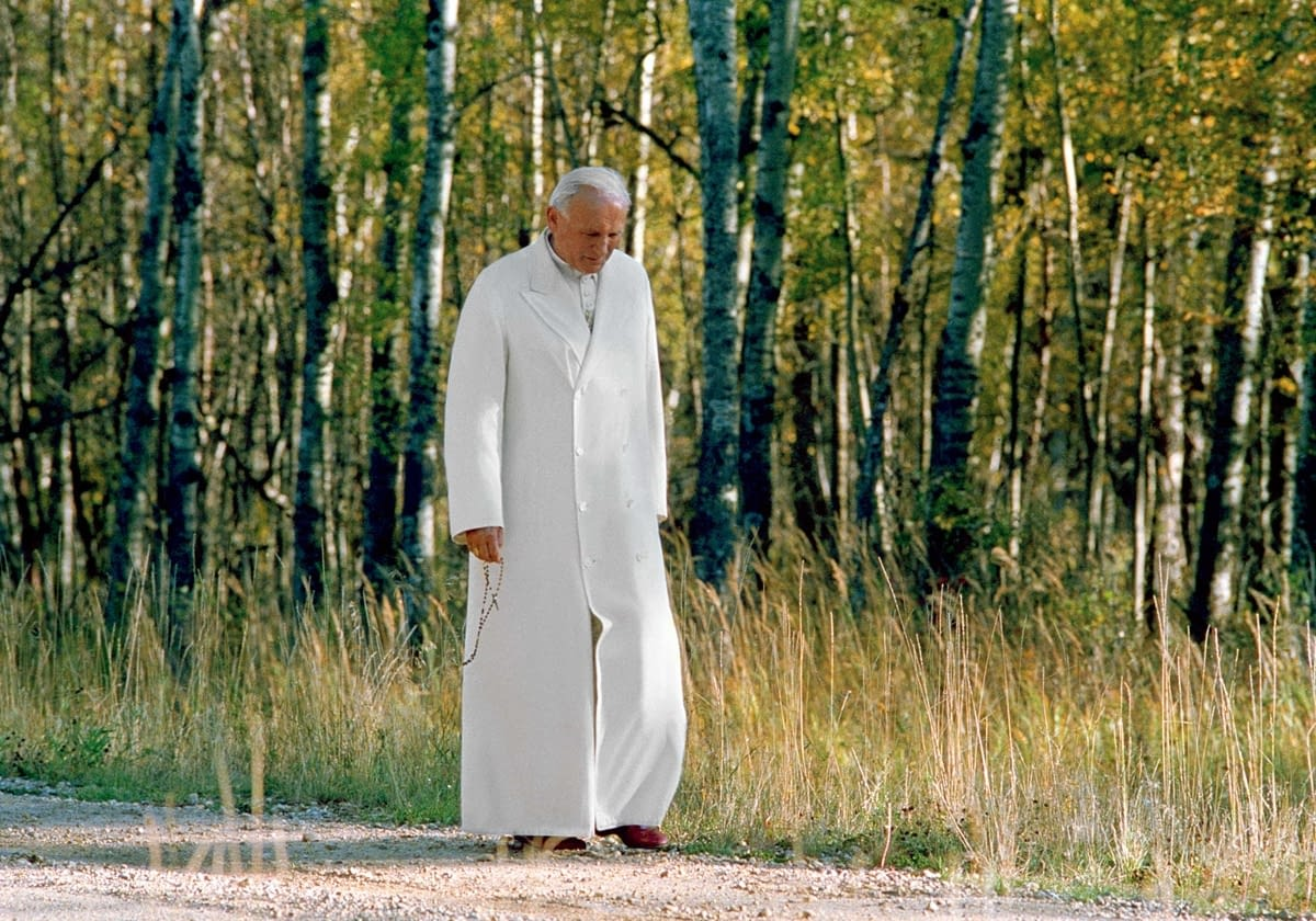 St. John Paull II praying the rosary, Elk Island National Park, Alberta, 1984