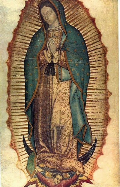 Virgin of Guadalupe. Miraculous image on Juan Diego's Tilma in 1531