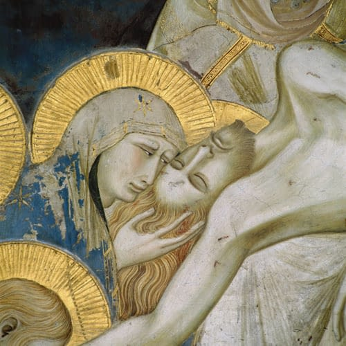 Pietro lorenzetti, lamentation (detail) lower basilica of assisi (1310-1329)