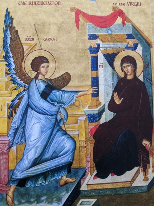 Gabriel tells Mary she is to Conceive by the power of the Holy Spirit